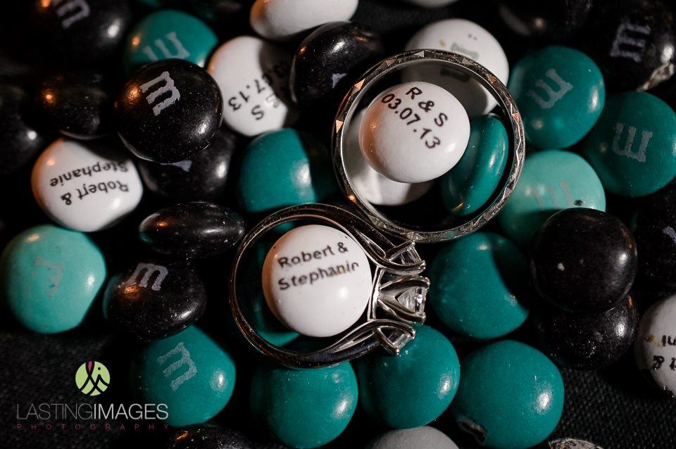 Favors were personalized blue and white M&Ms for the guests to enjoy.