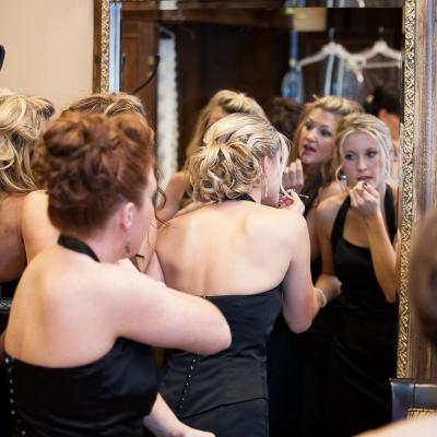 Bridesmaids Getting Ready Before the Ceremony