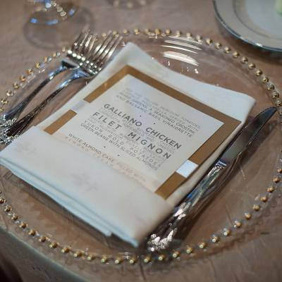 Gold Beaded Chargers and Dinner Menu