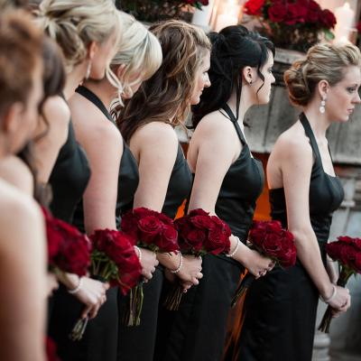 Bridemaids in Black Floorlength Gowns