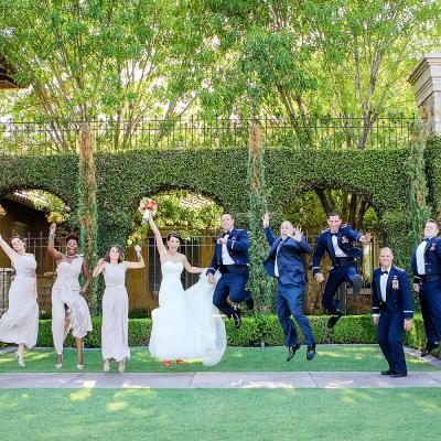 Bridal Party Jumping for Joy