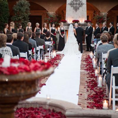 Red, White, and Black Outdoor Wedding Ceremony