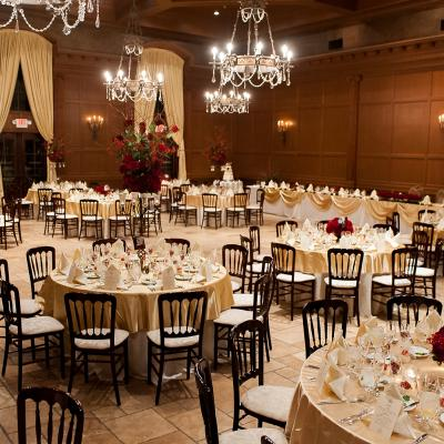 Elegant Red and Gold Ballroom Reception