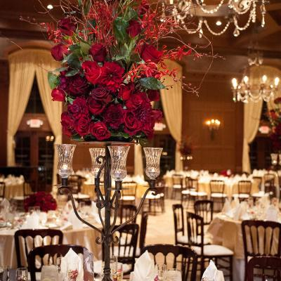 Romantic Red Rose Candelabra Centerpieces
