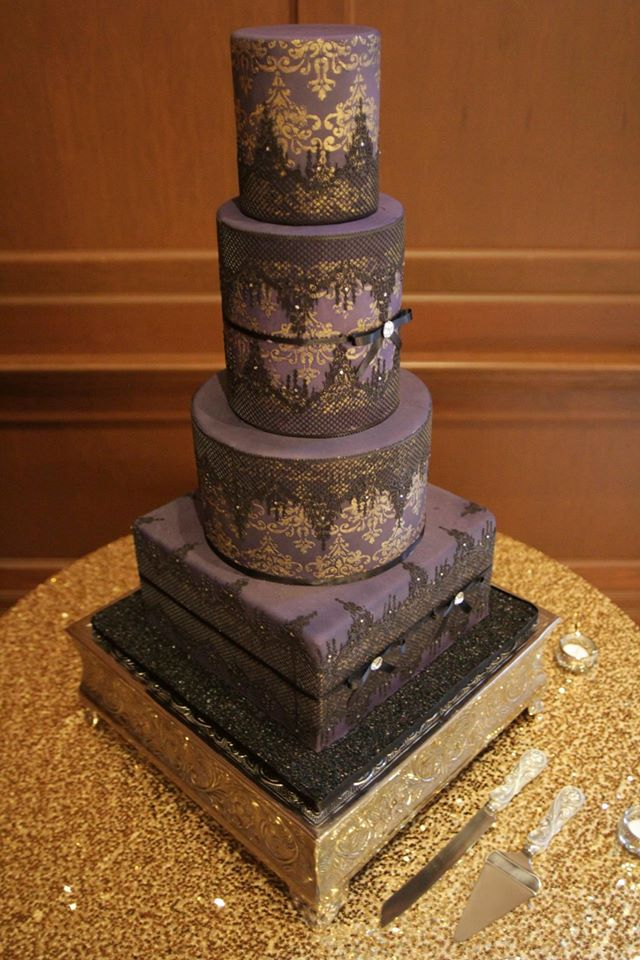 Black Purple Wedding Cake Villa Siena Wedding Talk